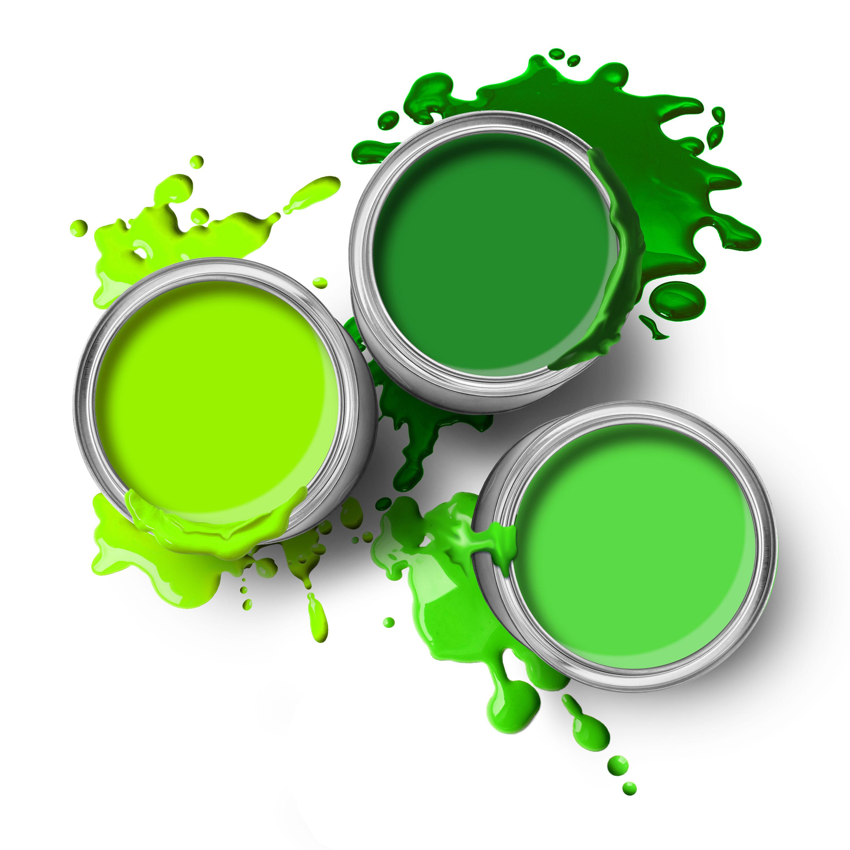 Potten met groene verf